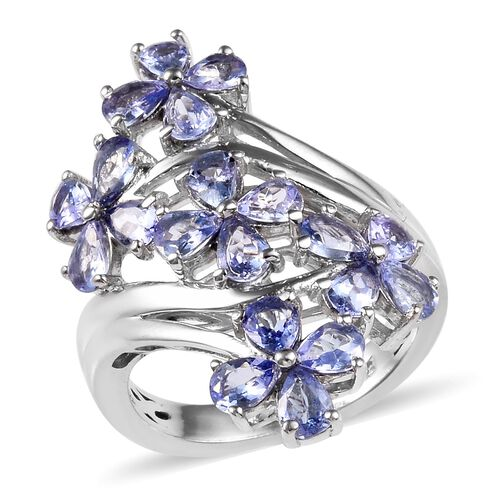 2.50 Ct Tanzanite Floral Crossover Ring in Platinum Plated Sterling Silver 5.50 Grams