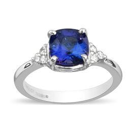 RHAPSODY 950 Platinum AAAA Tanzanite and Diamond (VS/E-F) Ring  1.65 Ct, Platinum wt. 5.59 Gms