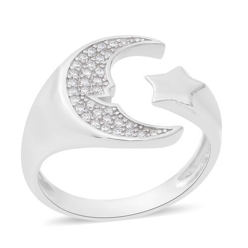 ELANZA Simulated Diamond Cross Over Charm Ring in Rhodium Plated Sterling Silver