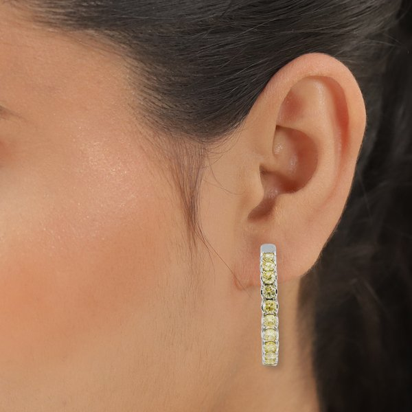 Simulated Yellow Sapphire (Rnd) Inside-Out Hoop Earrings (with Clasp) in Silver Tone 7.98 Ct.