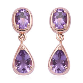Rose De France Amethyst (Pear and Ovl) Drop Earrings (with Push Back) in Rose Gold Overlay Sterling