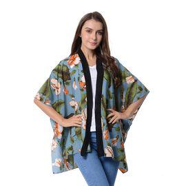 Designer Inspired- Green, Orange and Multi Colour Flower Pattern Kimono (Size 95x70 Cm)