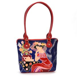 Contemporary Art Collection 100% Genuine Leather Afternoon Tea Party Hand Painting Shoulder Bag (Siz