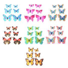 Home Decor - 42pcs Multi Colour Magnetic Digital Printed 3D Butterflies