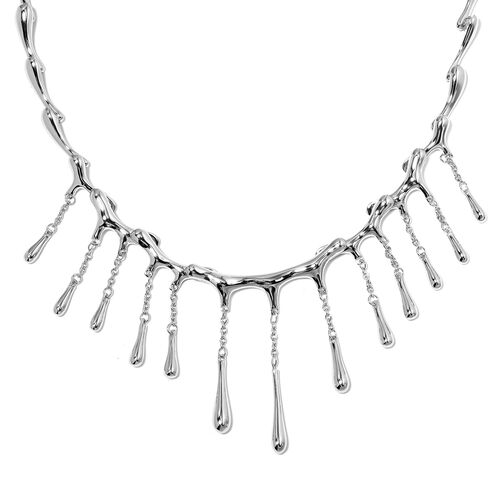 LucyQ Multi Drip Necklace (Size 20) in Rhodium Plated Sterling Silver , Silver wt 40.56 Gms