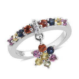 Rainbow Sapphire (Rnd), Natural White Cambodian Zircon Band Ring with Charm in Platinum Overlay Sterling Silver 1.000 Ct
