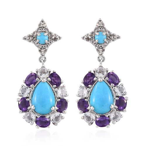 Arizona Sleeping Beauty Turquoise (Pear),  Amethyst and White Topaz Earrings (with Push Back) in Pla