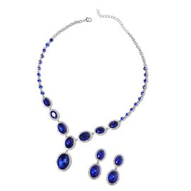 2 Piece Set - Simulated Blue Sapphire and White Austrian Crystal Necklace and Earrings (Size 20 with