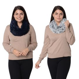 Set of 2 - Solid Colour and Rose Pattern Faux Fur Winter Collar Scarf (Size 17.8x157.4 Cm) - Navy