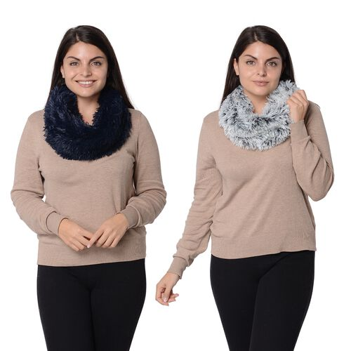 Set of 2 - Solid Colour and Rose Pattern Faux Fur Winter Collar Scarf (Size 17.8x157.4 Cm) - Navy an