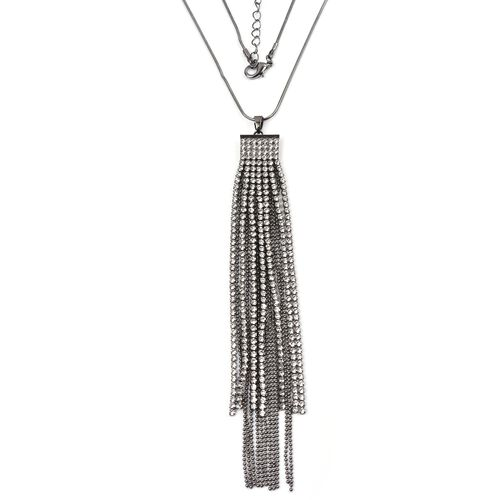 White Austrian Crystal (Rnd) Waterfall Pendant With Chain (Size 30 with 2 inch Extender) in Black Plated
