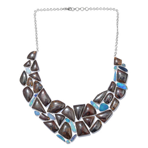 One Off A Kind- Boulder Opal Rock and Opal Double Necklace (Size 18 with 1 inch Extender) in Sterling Silver 686.700 Ct. Silver wt. 82.16 Gms.