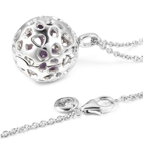 RACHEL GALLEY Bolivian Amethyst (Rnd) Lattice Globe Pendant With Chain (Size 30) in Rhodium Overlay Sterling Silver 3.200 Ct, Silver wt 15.47 Gms