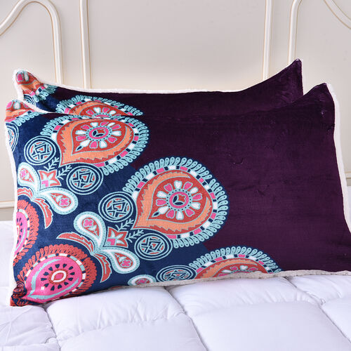 Set of 3 - Microflannel Mandala Printed Comforter in King Size with Sherpa Lining with 2 Sherpa Pillowcases - Dark Purple and Multi Colour - (230cm x 250cm)