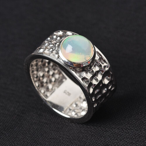 Ethiopian Welo Opal Band Ring in Platinum Overlay Sterling Silver 1.00 Ct.