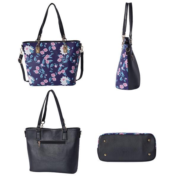 Set of 5 - Floral Pattern Tote Bag (29x12.5x30cm), Convertible Bag (27.5x13x19cm), Crossbody Bag (12.5x9x22cm), Wallet 19x2x10cm) & key Bag (6x10cm) - Black and Navy