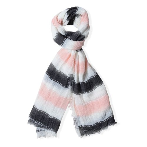Black, White and Light Pink Colour Strip Pattern Scarf (Size 180x90 Cm)