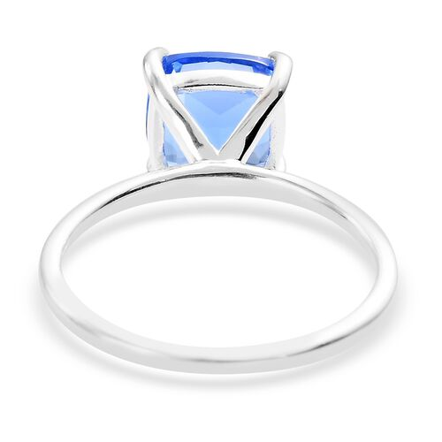 Blue Helenite Solitaire Ring in Sterling Silver 1.75 Ct.