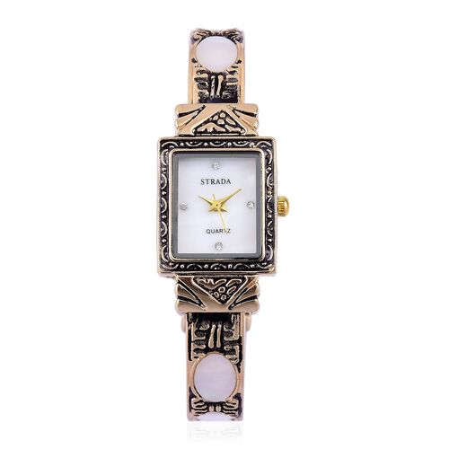 STRADA Japanese Movement White MOP Dial Water Resistant Bangle Watch with White Austrian Crystal in Yellow Gold Tone