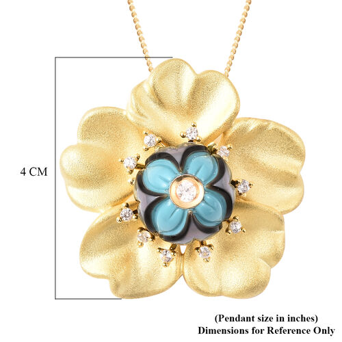 Galatea Pearl - Tahiti Pearl and Natural Cambodian Zircon Flower Design Carved Pendant with Chain (Size 18) in Yellow Gold Overlay Sterling Silver 4.08 Ct, Silver wt. 10.92 Gms