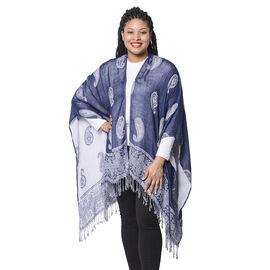 Close Out Deal Paisley Pattern Knit Poncho with Tassel Hem and White Base on One Side & Blue on Othe