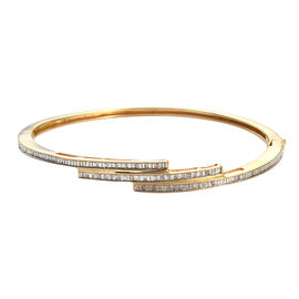 Diamond (Bgt) Bangle (Size 7.5) in 14K Gold Overlay Sterling Silver 0.33 Ct, Silver wt 14.90 Gms