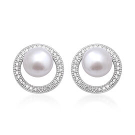 Freshwater Pearl and Simulated Diamond Stud Earrings (with Push Back) in Rhodium Overlay Sterling Si