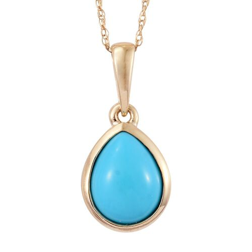 9K Yellow Gold 1.50 Carat AA Arizona Sleeping Beauty Turquoise Pear Solitaire Pendant With Chain