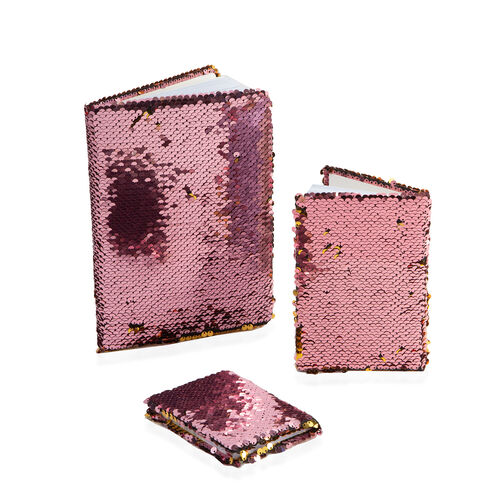 Set of 3 Sequin Covered Notebooks (Big Size 21x15x2 Cm), (Medium Size 15x10.5x1.5 Cm), (Small Size 1
