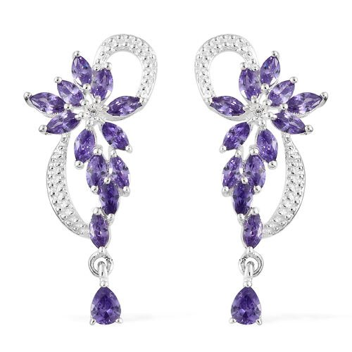 ELANZA Simulated Amethyst (Mrq), Simulated Diamond Earrings (with Push Back) in Sterling Silver.