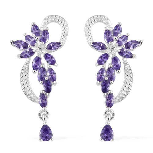 3 Ct AAA Simulated Amethyst and Simulated Diamond Drop Earrings in Silver
