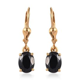AA Boi Ploi Black Spinel (Ovl) Lever Back Earrings in 14K Gold Overlay Sterling Silver 3.000 Ct.