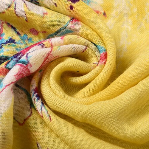 100% Merino Wool Garden Theme Patterned Scarf -  Yellow