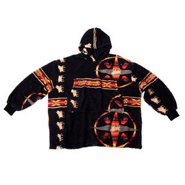 Tribal Pattern Hooded Sweatshirt (Size 194x98cm) - Black