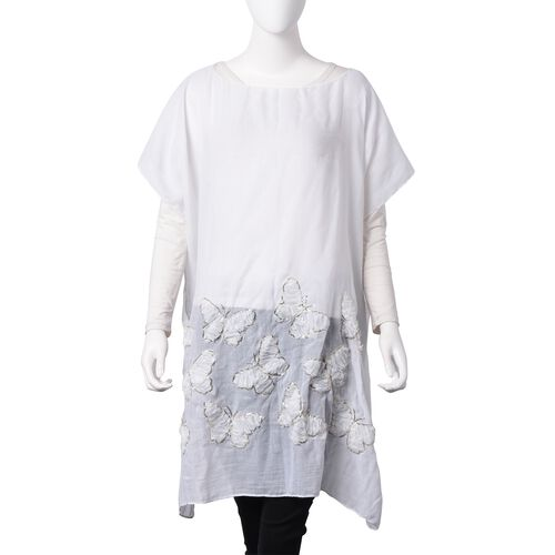 White Colour 3D Butterfly Pattern Poncho with Golden Colour Sequins (Size 90x90 Cm)