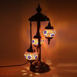 Handmade Turkish Moroccan Style 3 Globe Mosaic Glass Table Lamp with Bronze Base (Size 65x20 Cm) - Y