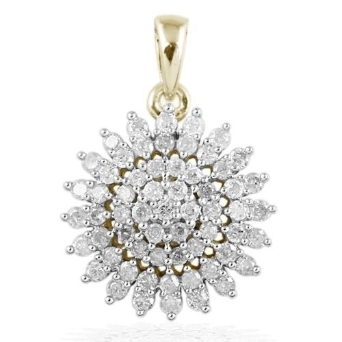 1 Carat Diamond SGL Certified (I3/G-H) Cluster Pendant in 9K Gold