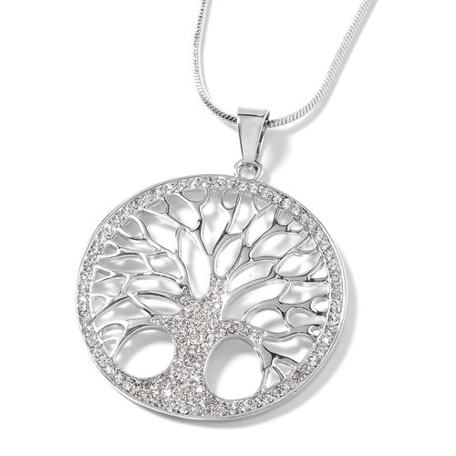 White Austrian Crystal (Rnd) Tree of Life Pendant With Chain in Silver Tone