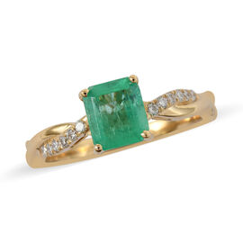 ILIANA 18K Yellow Gold AAA Boyaca Colombian Emerald and Diamond (SI/G-H) Ring 0.95 Ct.
