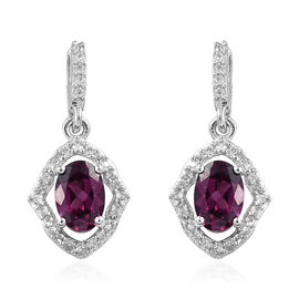 Purple Garnet (Ovl), Natural Cambodian Zircon Earrings (with Push Back) in Platinum Overlay Sterling