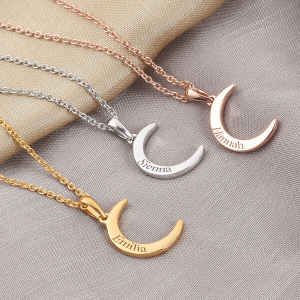 Personalised Engraved Crescent Moon Necklace