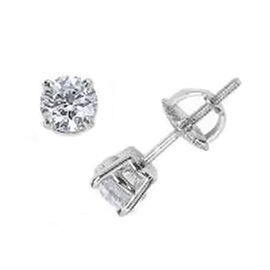 NY Closeout Deal -14K White Gold Diamond (I1-I2/G-H) Stud Earrings (with Screw Back) 0.50 Ct.