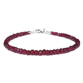 Rhodolite Garnet Beads Bracelet (Size 7.5) in Rhodium Plated Sterling Silver 25.000 Ct.