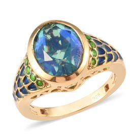 3.40 Ct Peacock Quartz Enamelled Solitaire Ring in 14K Gold Plated Sterling Silver
