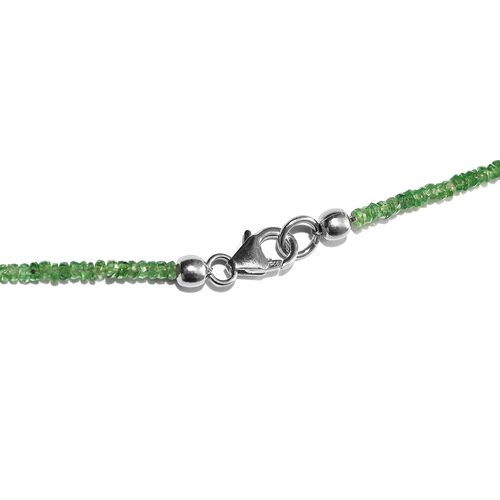 Tsavorite Garnet (Rnd) Necklace (Size 20) with Lobster Lock in Platinum Overlay Sterling Silver 32.630 Ct.