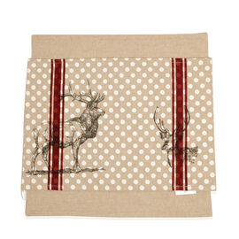 Set of 2 - 100% Cotton Stag Design Grey, Maroon and White Colour Placemat (Size 48x33 Cm) and Beige Colour Napkin (Size 45x45 Cm)