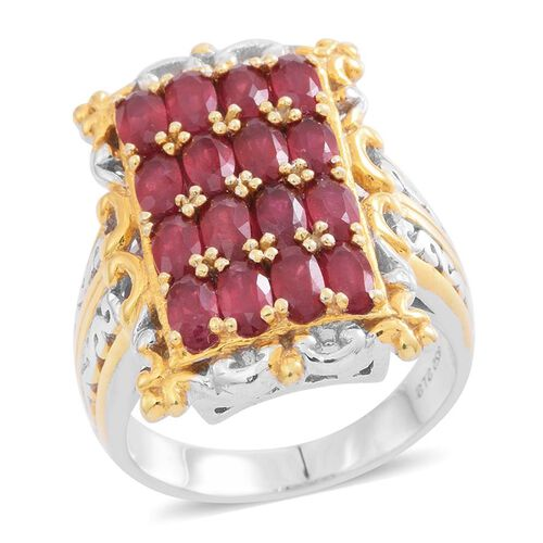 5 Ct African Ruby Cluster Ring in Rhodium and Gold Plated Silver 10.40 Grams