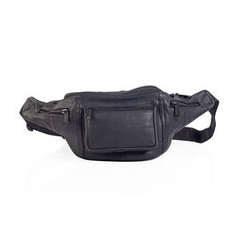 100% Genuine Leather Black Colour Bum Bag (Size 38x16 Cm)