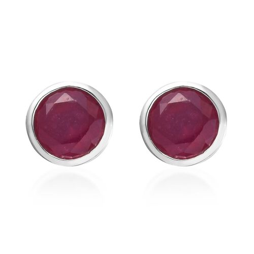 AA African Ruby Stud Earrings (with Push Back) in Platinum Overlay Sterling Silver 1.50 Ct.