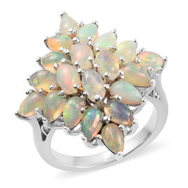 3 Carat Ethiopian Welo Opal Cluster Ring in Platinum Plated Sterling Silver